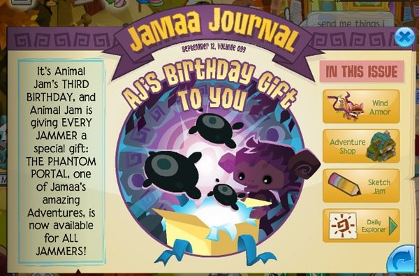 ... Animal Jam today you've seen that it's Animal Jam's 3rd birthday